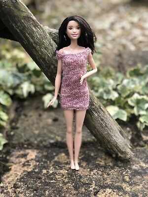 Hand Knitted Doll Clothes - Barbie Curvy & Tall / Sindy Pink Multi Dress
