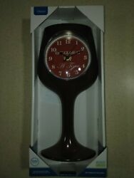 One Glass at a Time Home Bar Wall Clock 13.8x6.8x2.16 Burgundy, Wine Glass