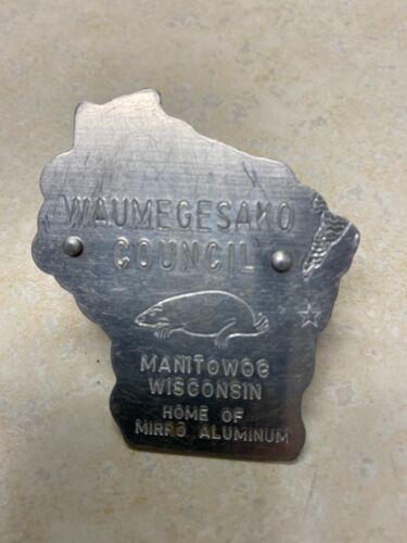 Waumegesako Council Manitowoc, Wi.  Aluminum Neckerchief Slide