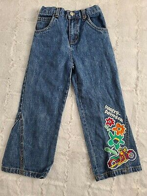 Harley Davidson flower embroidered patch girls Size 3T elastic waist jeans pants