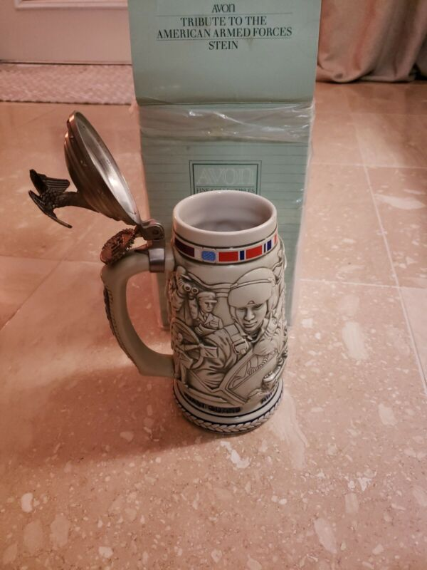 """Avon """"Tribute To The American Armed Forces"""" Ceramic Stein  ARMY NAVY AIR FORCE"""