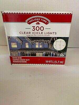 300 Clear Icicle Lights 19 Ft White Wire Light Length 18 Ft Indoor/ Outdoor