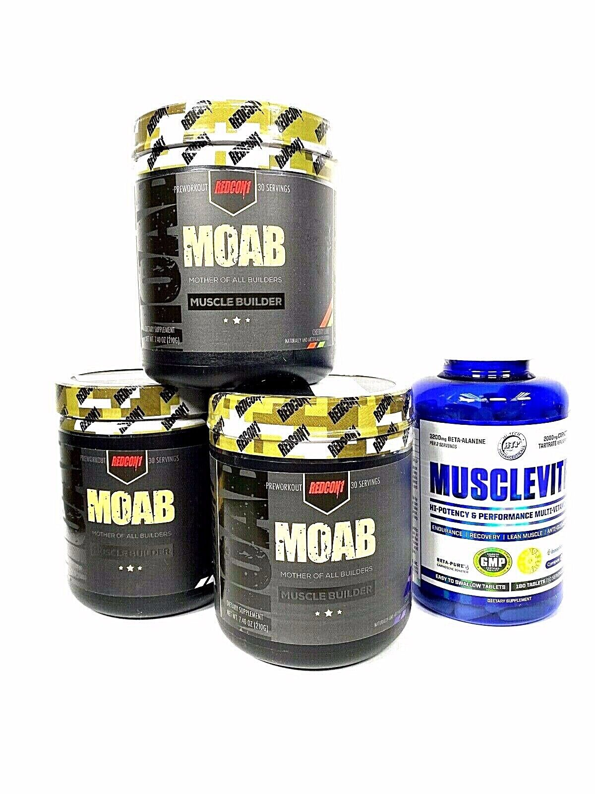 Redcon1 MOAB Muscle Builder 30 Servings ALL FLAVORS + Musclevite Multi-Vitamin