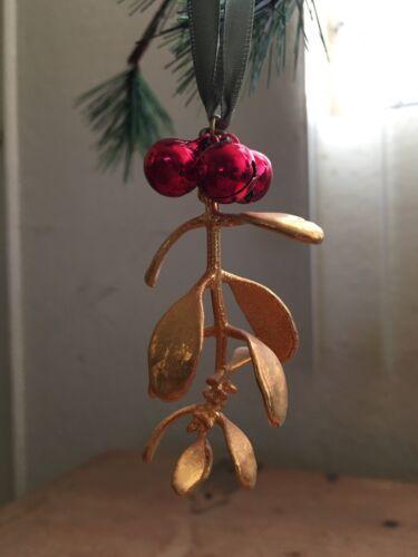 gold plated sprig of mistletoe ornament