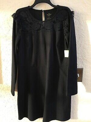 Kate Spade-Size XL Black Broome Street Lace Yoke Ponte Dress NWT