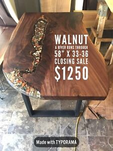 Live Edge Dining Table with Stone Inlay STORE CLOSING PRICES!!!!
