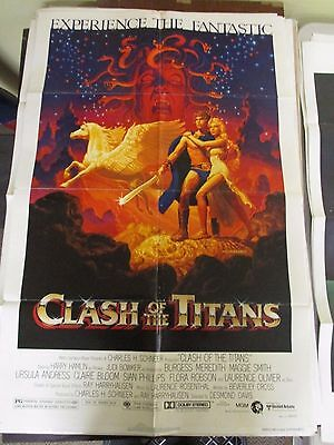 Vintage 1 sheet 27x41 Movie Poster Clash of the Titans 1981 Harry Hamlin