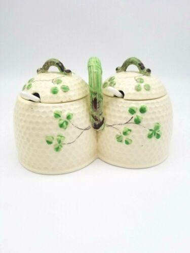 Lidded Double Honey Pot Condiment Basketweave Pattern Shamrocks  w/ Spoons