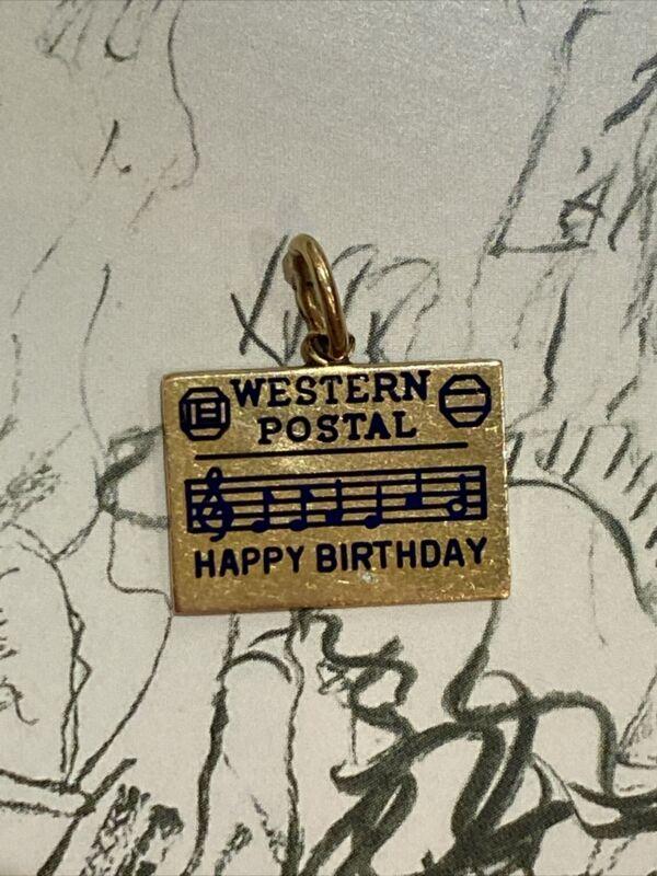Vintage 14K Yellow Gold Western Postal Happy Birthday Card or Telegram Charm