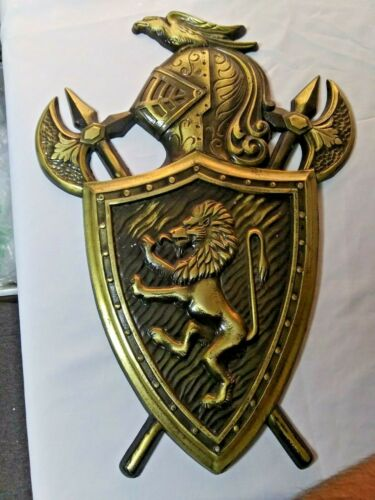 Medieval Vintage Coat Of Arms Lion Knight Swords Metal Wall Plaque Japan #1061