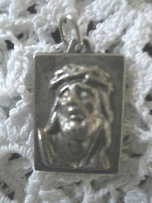 Jesus Pendant Necklace Crown of Thorns Vintage Silver Tone Catholic Pewter?