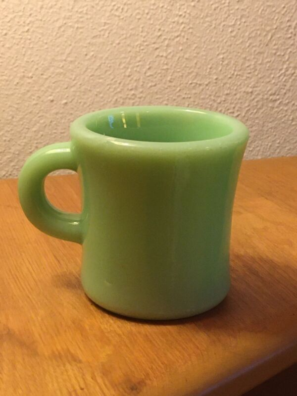 Fire King Oven Ware Jadeite Mug, Early Heavy C Handle,