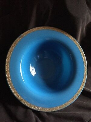 Cambridge Glass Azurite Bowl Gold Decoration Logo Triangle C