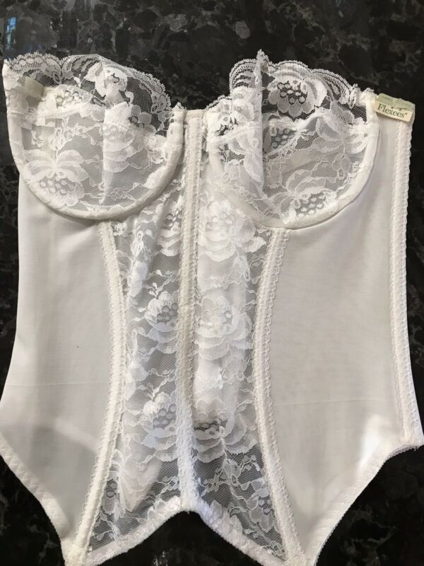 Vintage Bustier White Bridal Lace Corset FLEXEES Sz 36D NOS Original Tags