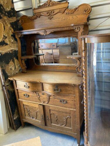 Antique Carved Victorian Oak Sideboard Buffet Sideboard Serpentine Front