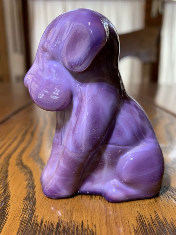 DEGENHART GLASS POOCH ROYAL VIOLET Rare 1930-50s Made In Ohio Free Shipping 2U
