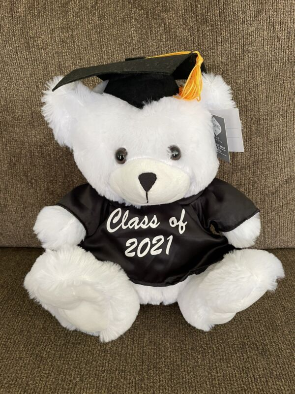 """NEW Class of 2021 Graduation White Stuffed Plush Bear with Cap & Gown 12"""""""