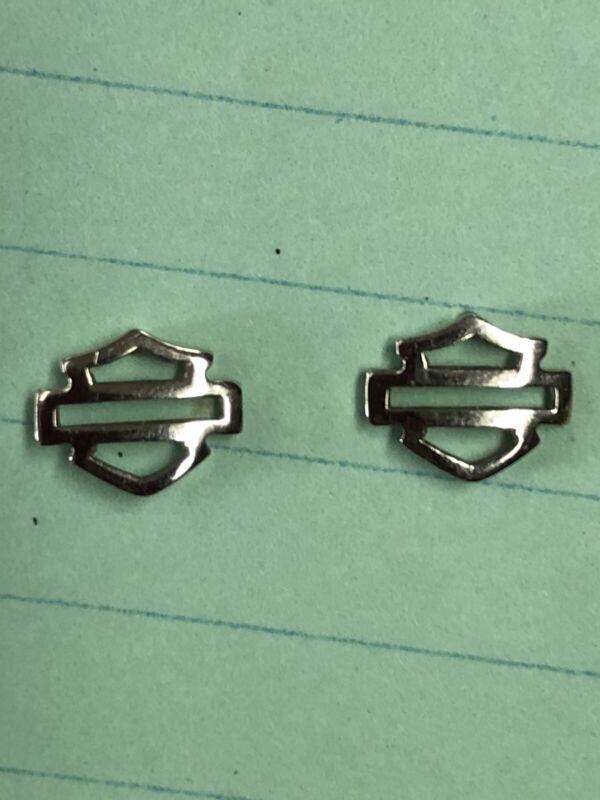 Harley Davidson 10K W/ 14K Posts & Backs White Gold Bar and Shield Stud Earrings