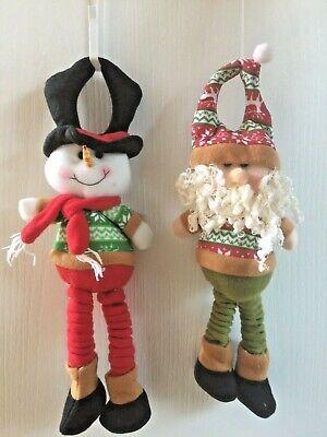 Set of Spring Legged Santa & Snowman Door Knob Hanger. Christmas Decor   Snowman Door Knob
