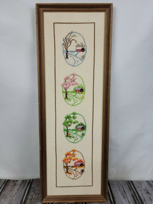 """4 Seasons Summer Fall Winter Spring Cabin COMPLETED CROSS STITCH FRAMED 6""""x17"""""""