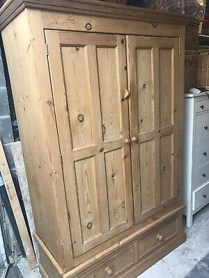 Handmade solid pine wardrobe with drawers