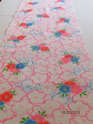 Vintage Japanese Cotton Kimono Fabric, White Crinkle w/Fans, Flowers & Blossoms