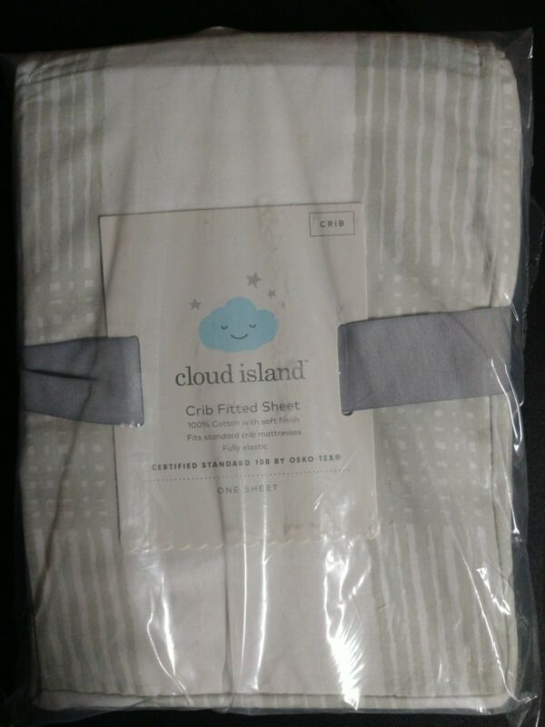 Cloud Island Crib Fitted Sheet Sketchy Plaid 100% Cotton- Gray