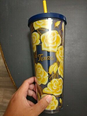 Starbucks Yellow Rose of TEXAS Tumbler Mug  Venti 24oz Local Series 2019 Limited
