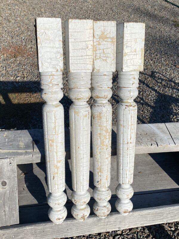 Set of 4 Old Turned Table Legs ~ Harvest, Farmer
