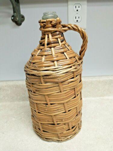 "Vintage Demijohn Wicker Wrap Covered Aqua Glass Wine Bottle Handle 13 1/2"" Tall"