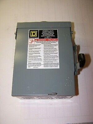 New Square D 30 Amp Fused Safety Switch 3r Outdoor 240v 1 Phase 3 Hp D221nrb
