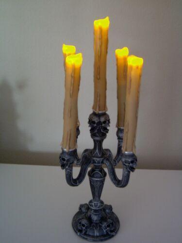 "19 1/2"" SPIRIT HALLOWEEN LED Skull Candleabra  light horror PROP EUC WITH BOX"