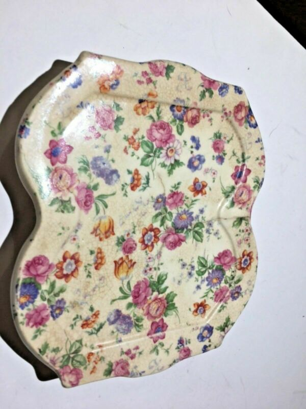 Antique Vintage Chintz Floral Made in Japan Hotplate 5.5 x 6 Spoonrest 026-08