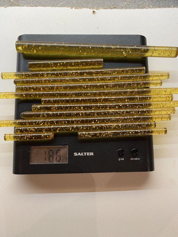 Vintage Antique Amber Glitter Sparkle Phenolic Catalin Rod NOS 186 Grams.