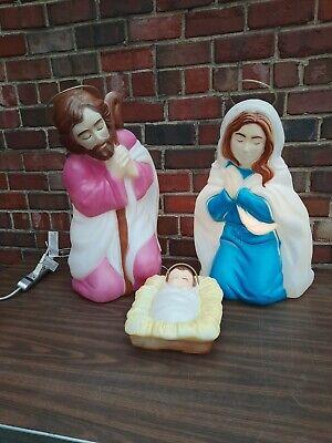 Vintage Empire Blow Mold Christmas Nativity Mary Joseph Baby Jesus Holy Family