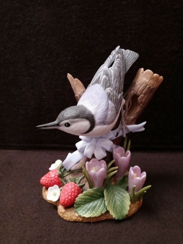 LENOX 2006 Nuthatch Porcelain Bird Tree Flower Strawberry Limited Edition COA