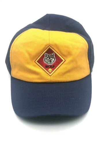 Vintage Boy Cub Scout Wolf Hat Cap Blue Yellow Hook and Loop Closure Back