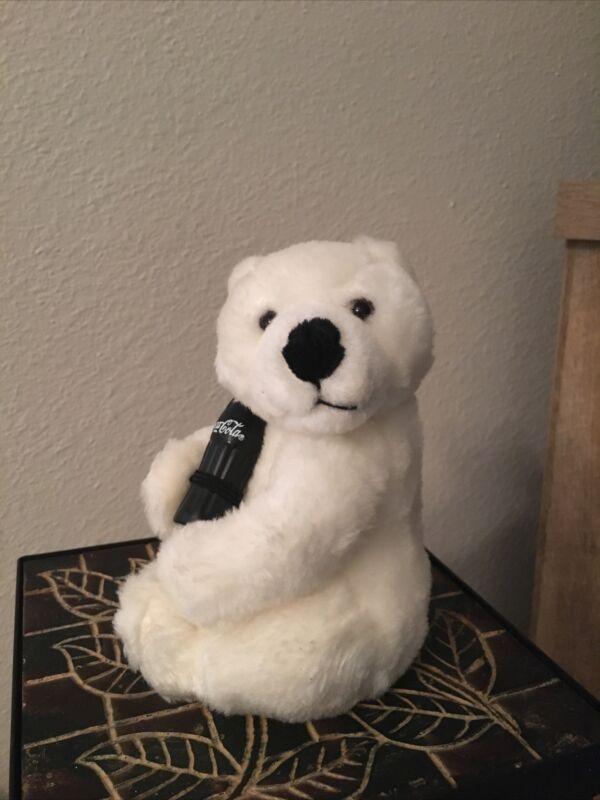 """Rare Vtg COCA-COLA Collectable POLAR BEAR with Coke Bottle 7"""" Stuffed Plush"""