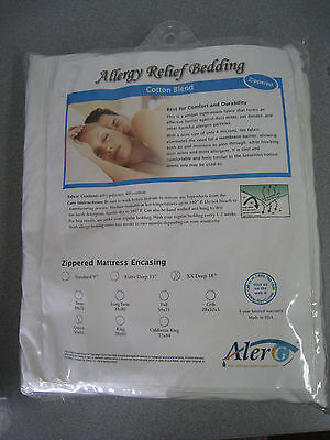 Allergy Relief Bedding Cotton Blend Zippered Mattress Encasing Queen XX Deep -