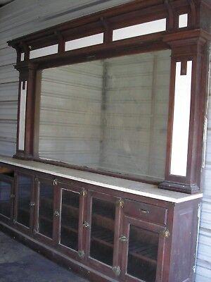 Antique 10' Back Bar. Original Finish Drug Store Bar ()