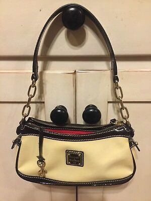DOONEY & BOURKE CREAM IVORY BROWN PATENT MINI BAGUETTE BAG BITSY LEATHER PURSE