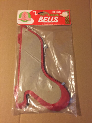 """VINTAGE CHRISTMAS BEISTLE RED 2CT HONEYCOMB BELLS 9"""" X 5.5"""" NOS!"""