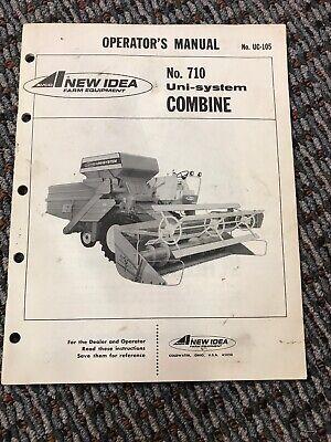 Avco New Idea Farm Equipment Operators Manual 710 Uni-system Combine