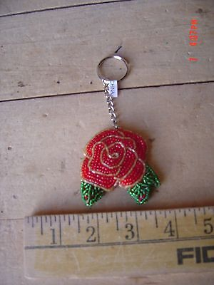 Beaded Key Chain - ROSE - ROSES - Gardening  - Lot of TWO -