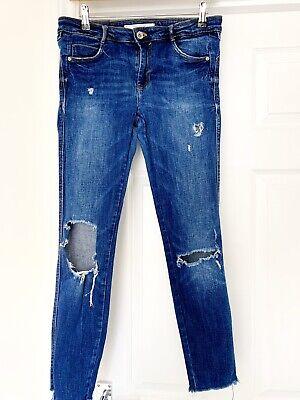 Zara Blue Denim Ripped Skinny Jeans Waist 38 Size 10