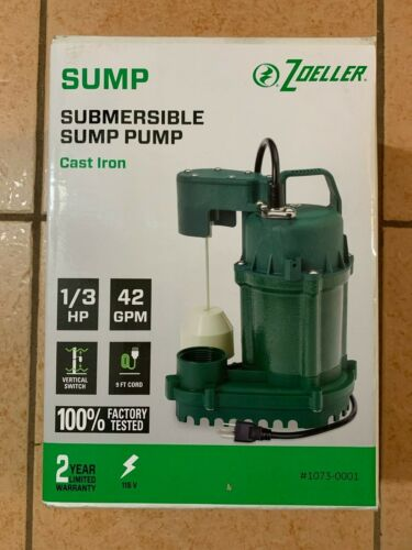 1073-0001 Zoeller Submersible Sump Pump 1/3 HP 42 GPM Cast Iron BRAND NEW!