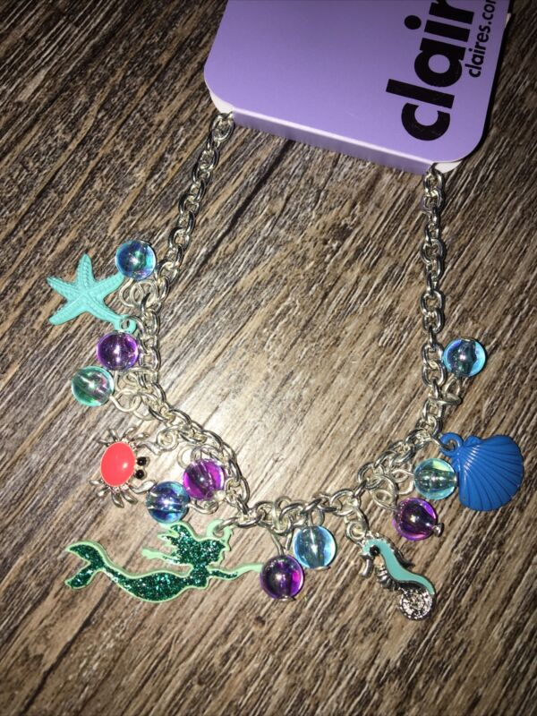 Claire's Mermaid Shell Crab Seahorse Charm Bracelet Jewelry Nwt