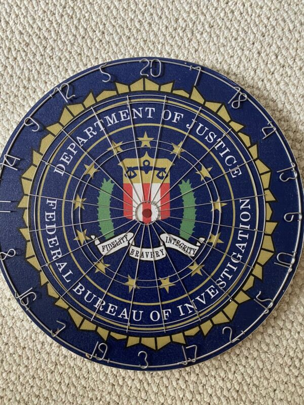 FBI Custom Dartboard rare! Law Enforcement DOJ Thin Blue Line