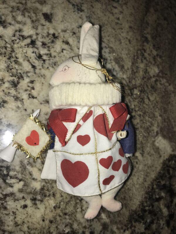 Gladys Boalt Christmas Ornament Herald Rabbit 1980 Alice in Wonderland Series