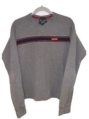 Abercrombie & Fitch Vintage Mens L Gray Longsleeve Vneck Embroidered Logo